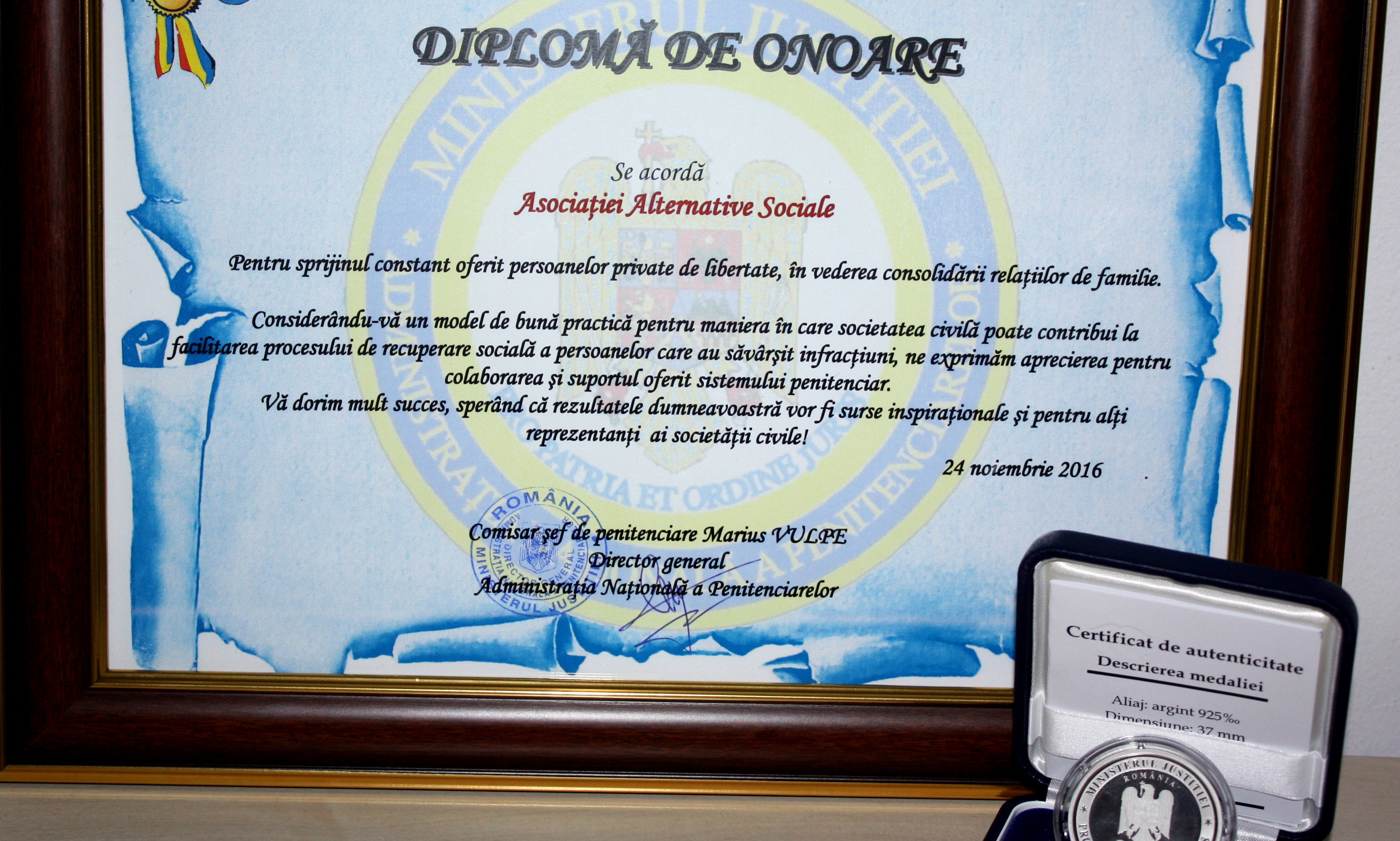 Alternative Sociale Receives an Award from the Romanian National Prison Administration