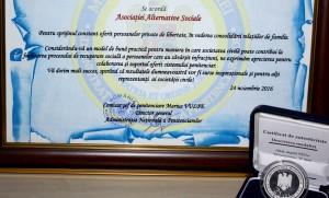 Alternative Sociale premiată de Administrația Națională a Penitenciarelor
